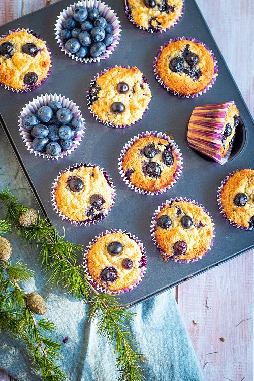Borůvkové muffiny z mandlové mouky