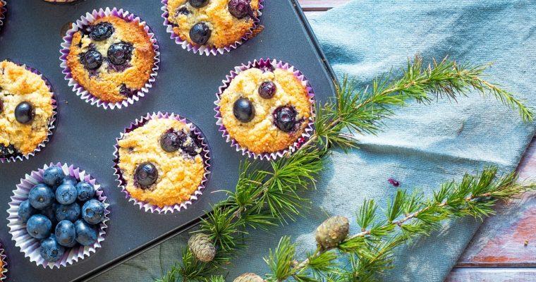Borůvkové muffiny zmandlové mouky